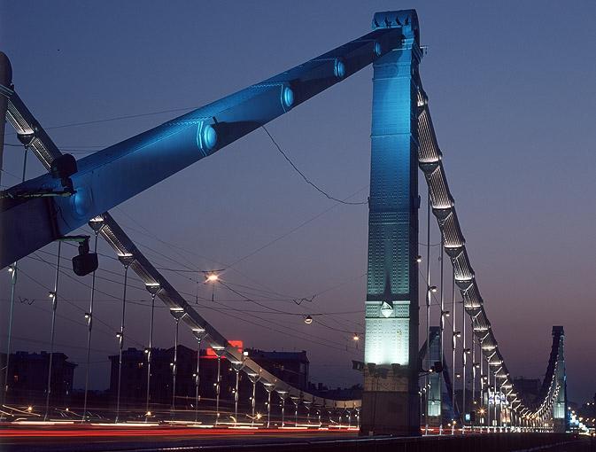 Москва ночь крымский мост